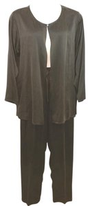 Eileen Fisher EILEEN FISHER DARK BROWN SILK PANT SET L