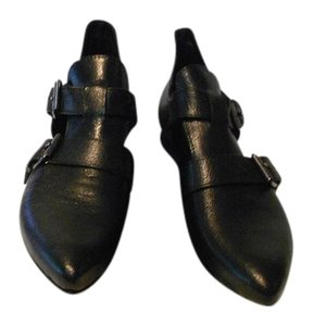 Lady Kiara Cut Out Upper Strap & Buckle All Leather Made In Italy Black Flats