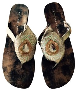Chinese Laundry Embelished Gold Metallic Thong Gold/Brown/bronze Sandals