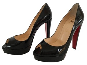 Christian Louboutin Alta Nana Patent Leather Pump Worn Few Times Hot!! BLACK Platforms