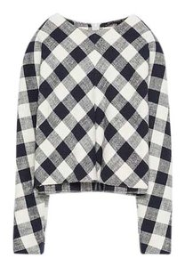 Zara Gingham Japanese Sleeve Blue White Spring Summer Top Navy