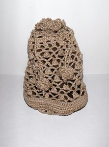 New Handcrafted Crochet And Pearl Drawstring Keepsake Jewelry Bag / Pouch
