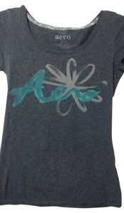 Aéropostale T Shirt Gray with logo written in blue