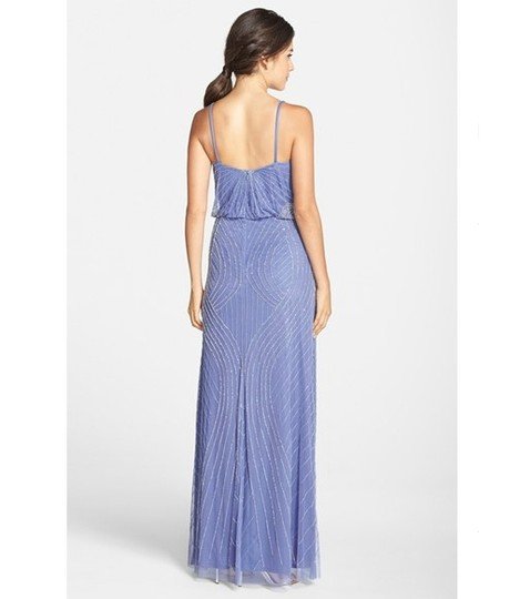low-cost Adrianna Papell French Blue Beaded Deco Spaghetti Strap Formal Maxi Dress - 24% Off Retail