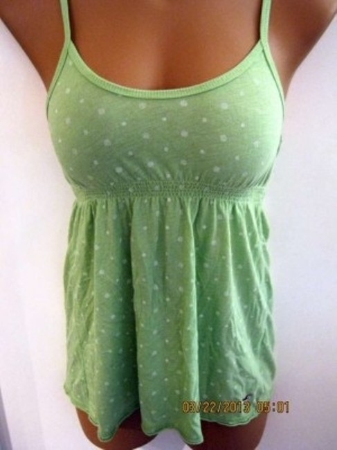 Hollister Spaghetti Strap Polka Dots Top Lime green