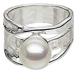 NEW Ring in Abstract Design Faux Silver and White Pearl Solitaire, Wide Band, Size 8