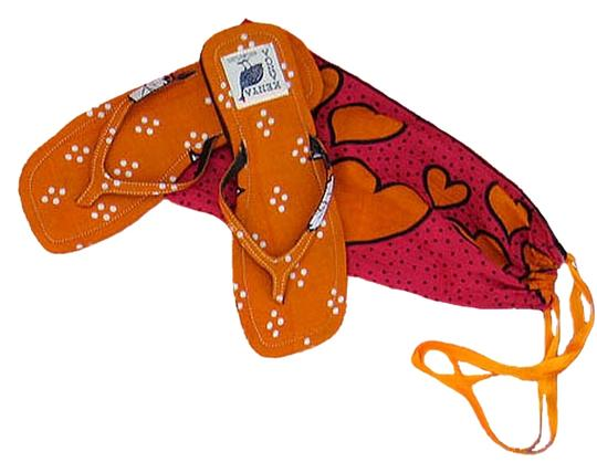 Private Collection Beach Flat Slim Size 9.5 Bright Colorful Kanga Fabric Cotton From Kenya East Africa Rubber Soles Individually Hand Hot Orange / Red Fuchsia Sandals