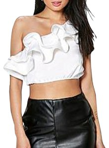 Other Crop Crop Ruffles One Boohoo Top white