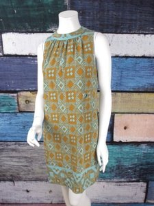 Nicole Miller short dress Aqua Blue, Gold Collection Silk Blend Tribal Shift on Tradesy