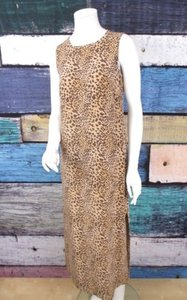 Brown, Beige Maxi Dress by Maggy London Leopard Cheetah African 100 Silk Maxi