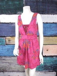 Free People short dress Pink People Floral Cage Back Embellished Summer Sun on Tradesy