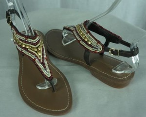 BCBGeneration Beaded Thong Red Gold Ivory Multi-Color Sandals