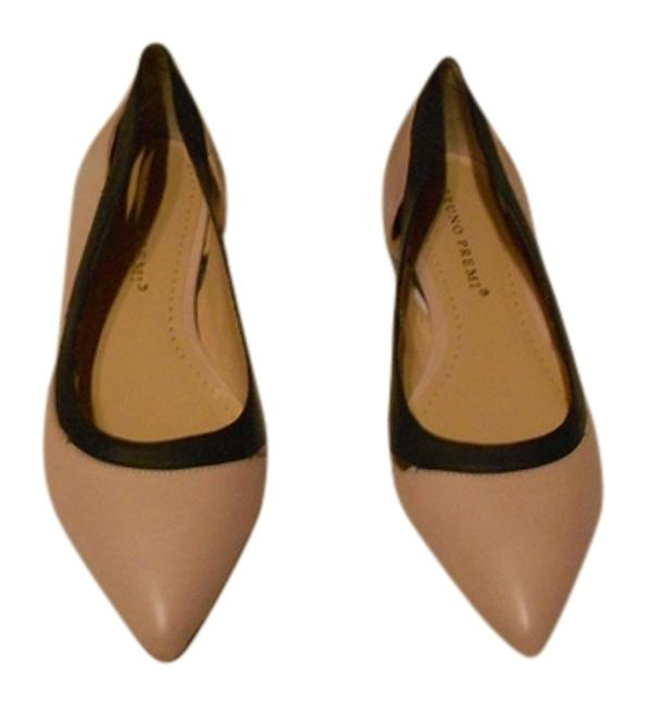 Item - Nude/Black Cut Out Accented Two Tone Leather (9m) Flats Size US 9 Regular (M, B)
