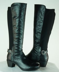 Duck Head Rose Knee High Black Boots