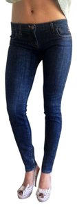 Miss Sixty Tapered Zipper Side Zipper Jlot Style Skinny Jeans-Dark Rinse