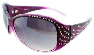 Panama Jack NEW with Tags Oversized Rounded Rectangle Purple Sunglasses with Rhinestone Stud Sides