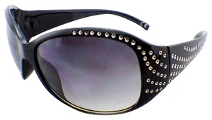 Panama Jack NEW with Tags Oversized Rounded Rectangle Black Sunglasses with Rhinestone Stud Sides