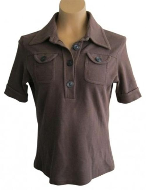Chloé Italy Breast Pocket Collar Cotton T Shirt Brown