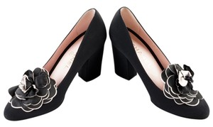 Chanel Chunky Heel Camellia Black Pumps