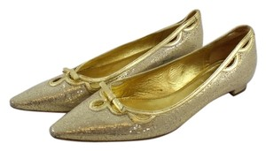 Miu Miu Sequin Pointed Toe Gold Flats