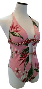 Lucky Brand Bold exotic pink floral open chest bathing suit