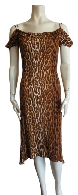 Item - Multicolor Fitted Waist Animal Print Not Lined Long Short Casual Dress Size 6 (S)