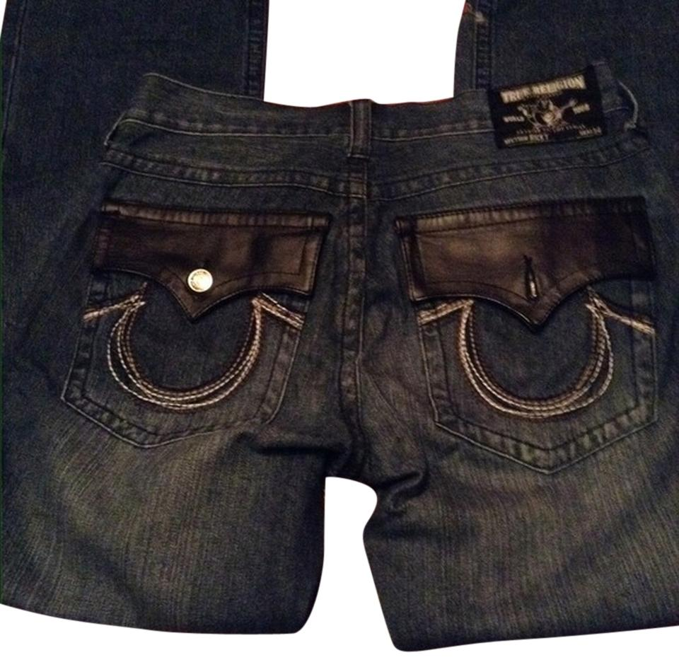 True Religion Blue Distressed Men s Ricky Leather Pocket Relaxed Fit ... 2ea33f41bef