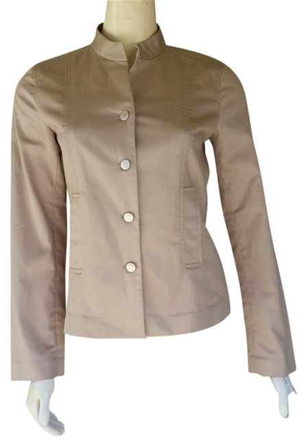 Yansi Fugel Brshed Cotton Snaps Beige Blazer