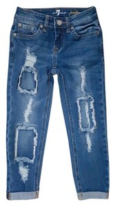 Girls 7 For All Mankind Boyfriend Cut Jeans-Distressed
