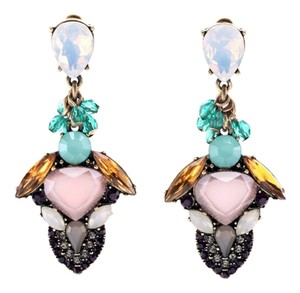 multi color stone statement earrings