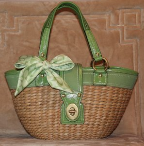 Coach Legacy Bucket Straw Wicker 10728 Tote in Green