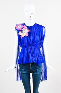 Other Delpozo Pink Chiffon Sheer Pleated Floral Applique Top Blue