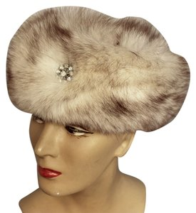 Vintage GENUINE RUSSIA-MADE Vintage 60's Silver Fox Fur Mod Cossack Hat