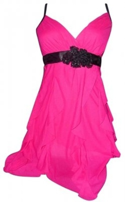 Preload https://item4.tradesy.com/images/wet-seal-fuschia-hot-pink-shimmy-spaghetti-strap-with-embellished-black-sequined-flower-and-satin-wr-139443-0-0.jpg?width=400&height=650