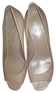Via Spiga Peep Toe Leather Nude Pumps