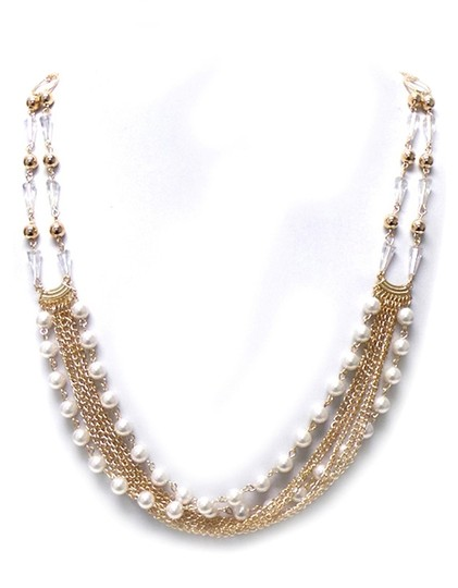 Unknown Multi Pearl & Crystal Strand Necklace