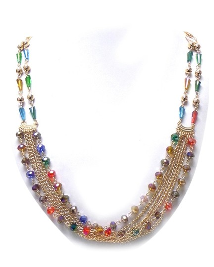 Unknown Multi Color Crystal Strand Necklace