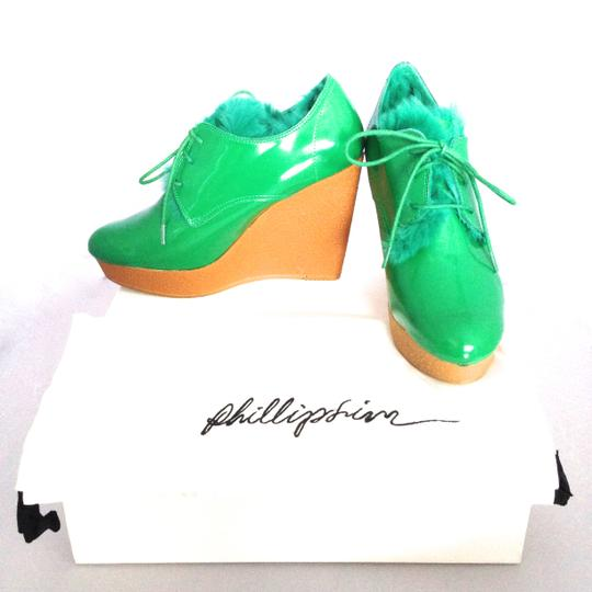 3.1 Phillip Lim Wedge Patent Fur Patent Leather Platform Rain Rain Chic Super Chic For Fall Super Chic Winter Chic Winter Style Chic Green Boots