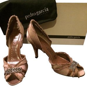 Pedro Garcia Nude Heel Satin Rhinestones Designer Gucci Prada Louis Vuitton Christian Louboutin Valentino Evening Wedding Pewter , pink, light brown, tan, gray Pumps