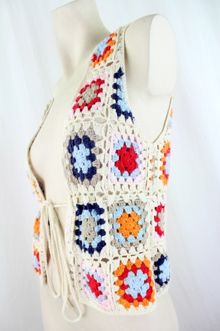H&M L.O.G.G. By H&M Cotton Multicolor Crochet Vest US Size Small