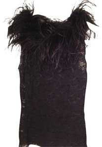 Sans Souci Feathers Feather Fancy Formal Fun Top Black Lace