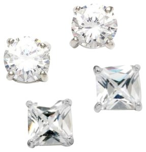 City by City 2 Pair Round Cut & Princess Cut Cubic Zirconia Earring Set