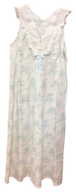 White w/Pale Pink & Green Flowers, Leaves Maxi Dress by Dixie Belle