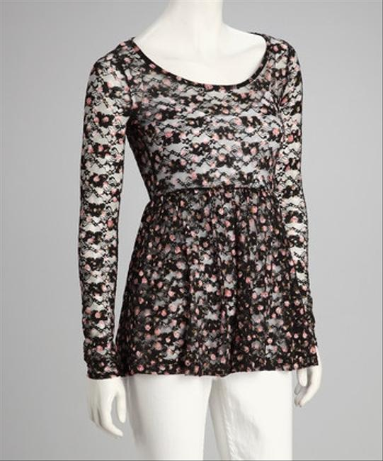 Love2skiVT Sheer Date Night Longsleeve Top Black Lace with Flowers