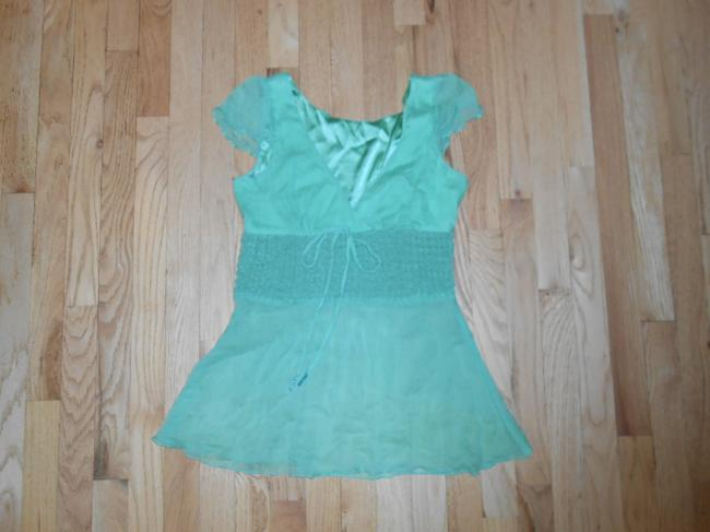 BCBG Max Azria Sheer Cap Sleeves Top Green