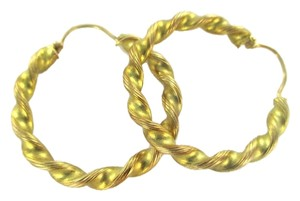Other 14KT KARAT YELLOW SOLID GOLD EARRINGS HOOP FINE JEWELRY TWISTED 3.5 GRAMS JEWEL