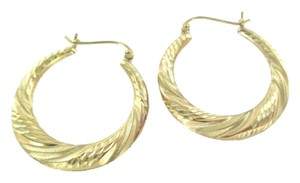 10KT KARAT YELLOW SOLID GOLD EARRINGS HOOP FINE JEWELRY DIAMOND CUT 2.1 GRAMS