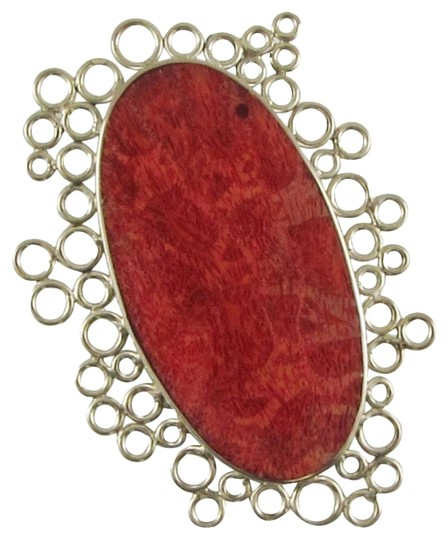 Island Silversmith Island Silversmith .925 Sterling Silver Red Coral Art Nouvo Pendant 0401H *FREE SHIPPING*