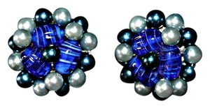 Other Beautiful Blue Beaded Button Clip On Earrings
