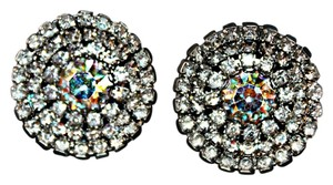 Macy's Beautiful Crystal Button Clip On Earrings